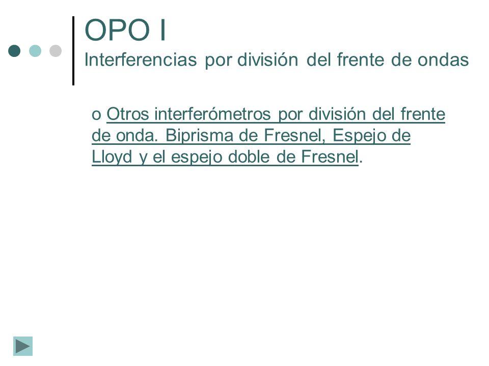 OPO I Interferencias por división del frente de ondas