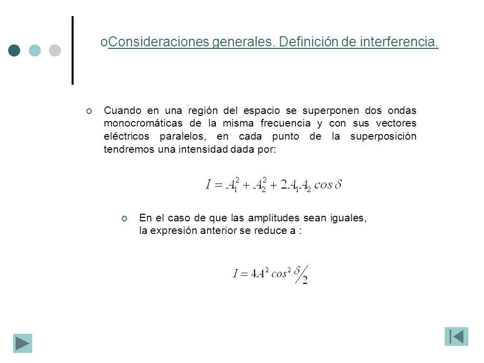Consideraciones generales. Definición de interferencia.