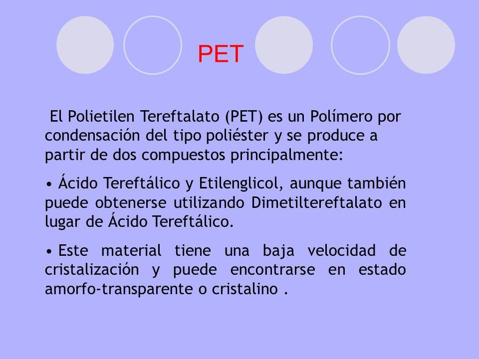 PETEl Polietilen Tereftalato (PET) es un Polímero por condensación del tipo poliéster y se produce a partir de dos compuestos principalmente: