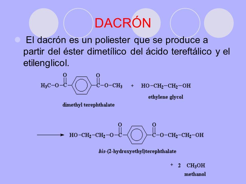 DACRÓN El dacrón es un poliester que se produce a partir del éster dimetílico del ácido tereftálico y el etilenglicol.