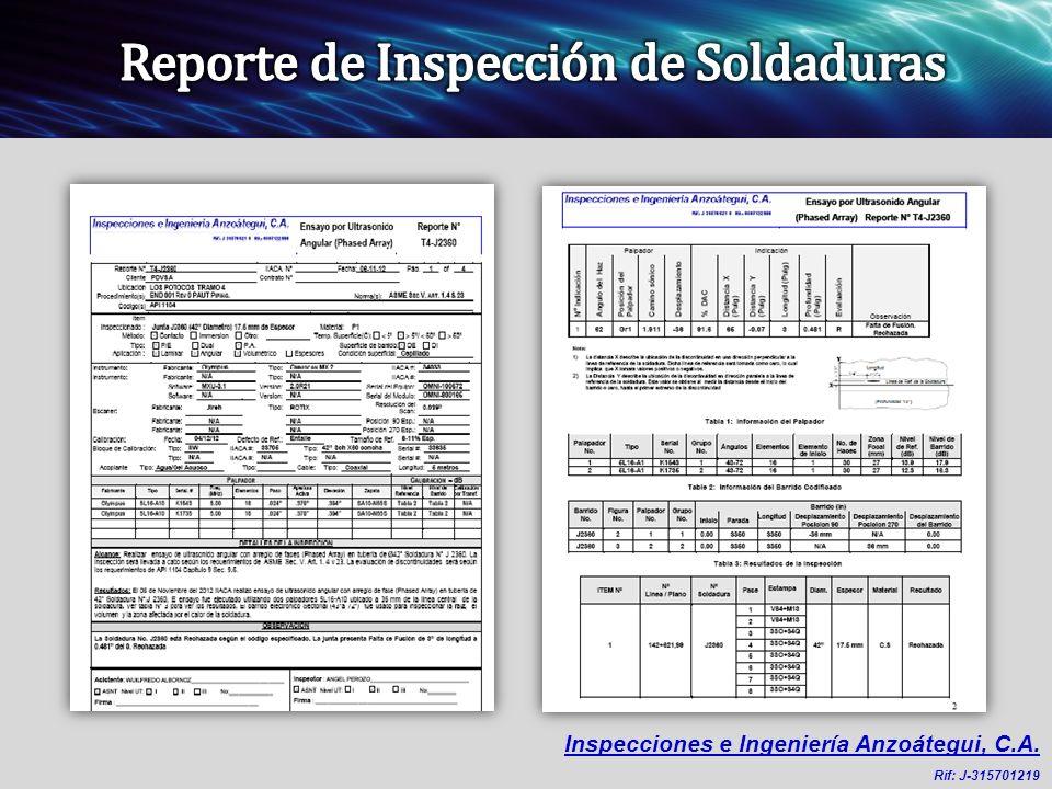 Reporte de Inspección de Soldaduras
