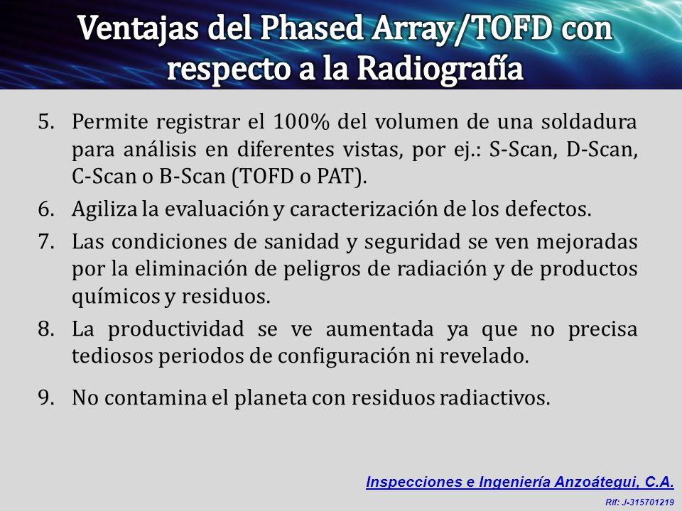 Ventajas del Phased Array/TOFD con respecto a la Radiografía