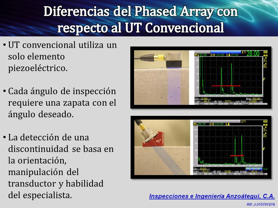 Diferencias del Phased Array con respecto al UT Convencional