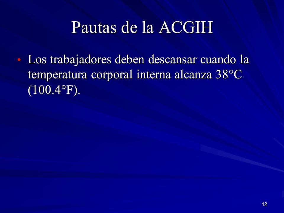 Pautas de la ACGIH Los trabajadores deben descansar cuando la temperatura corporal interna alcanza 38°C (100.4°F).