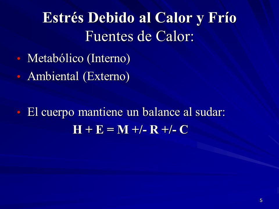 Estrés Debido al Calor y Frío Fuentes de Calor:
