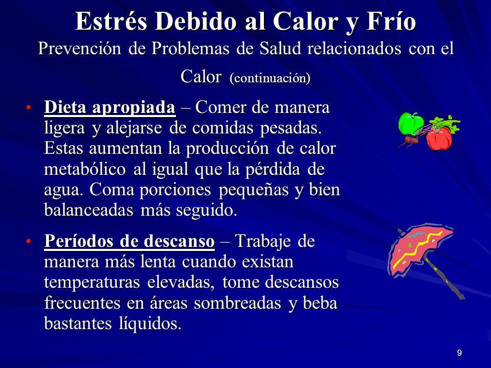 Estrés Debido al Calor y Frío Prevención de Problemas de Salud relacionados con el Calor (continuación)