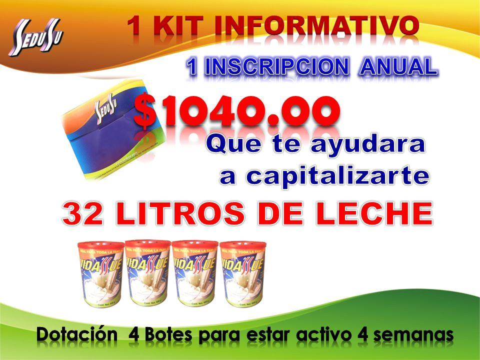 1040.00 32 LITROS DE LECHE 1 KIT INFORMATIVO
