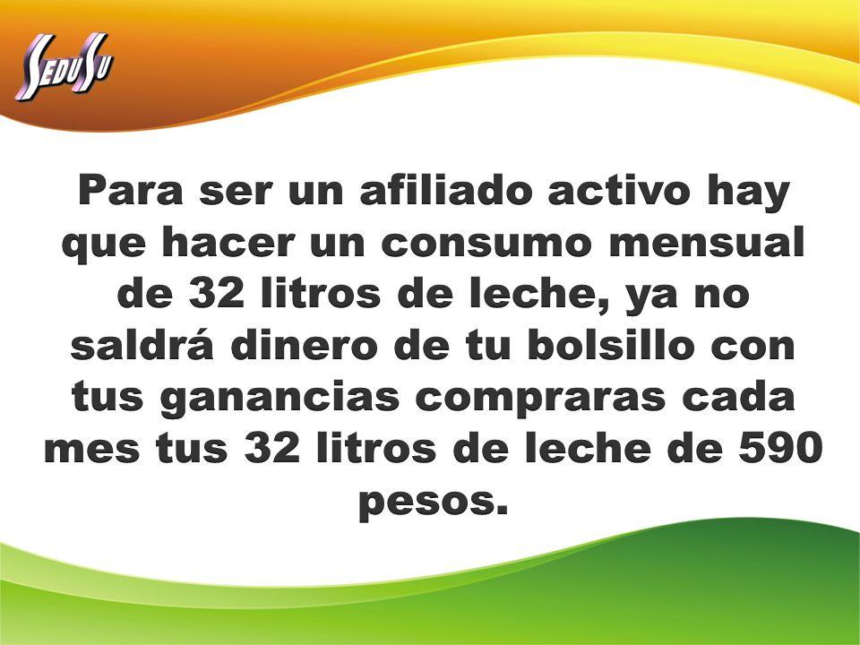 Para ser un afiliado activo hay que hacer un consumo mensual de 32 litros de leche, ya no saldrá dinero de tu bolsillo con tus ganancias compraras cada mes tus 32 litros de leche de 590 pesos.