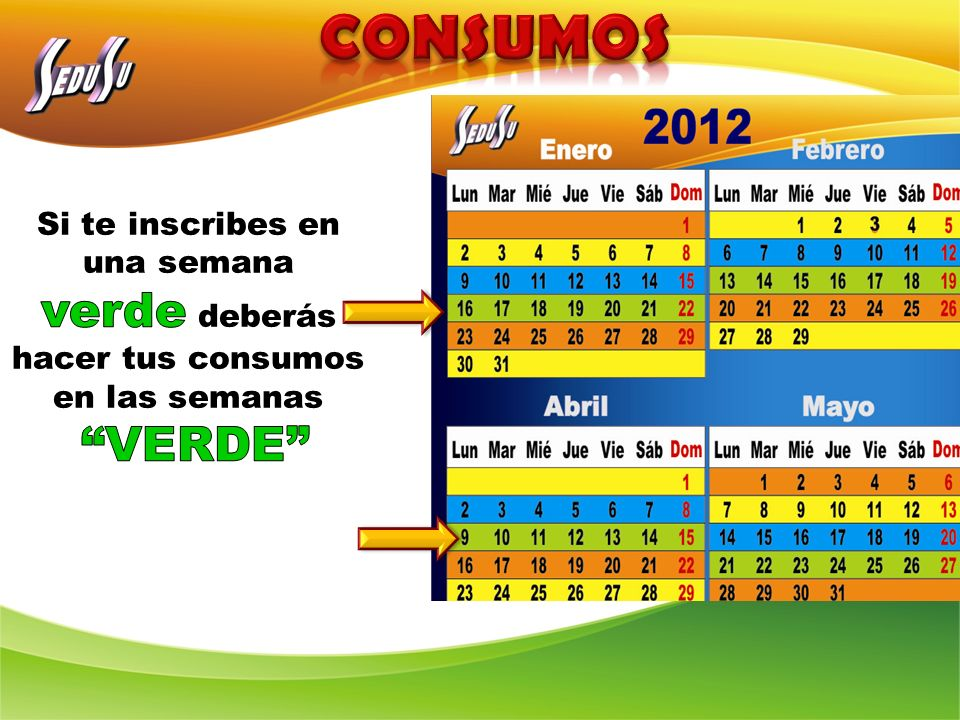 CONSUMOS Si te inscribes en una semana verde deberás hacer tus consumos en las semanas VERDE
