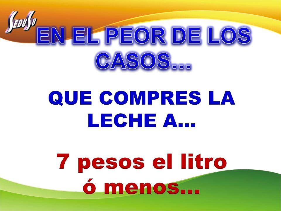 EN EL PEOR DE LOS CASOS… 7 pesos el litro ó menos…