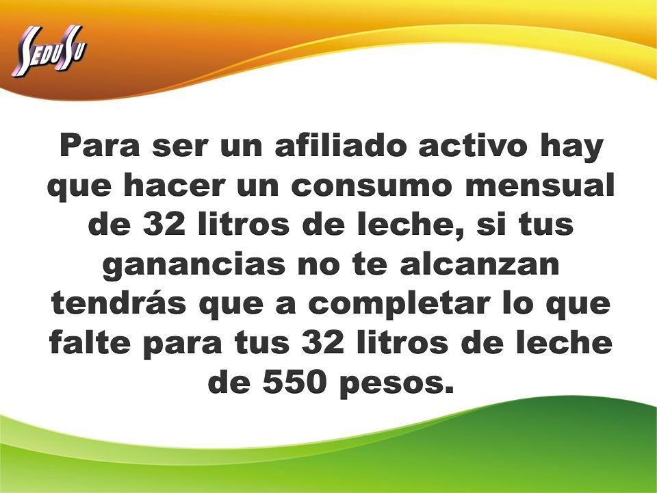 Para ser un afiliado activo hay que hacer un consumo mensual de 32 litros de leche, si tus ganancias no te alcanzan tendrás que a completar lo que falte para tus 32 litros de leche de 550 pesos.