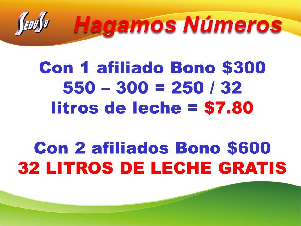 Hagamos Números Con 1 afiliado Bono $300 550 – 300 = 250 / 32