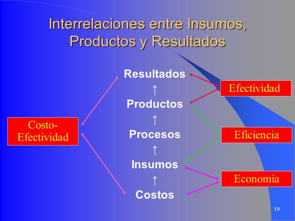 Interrelaciones entre Insumos, Productos y Resultados