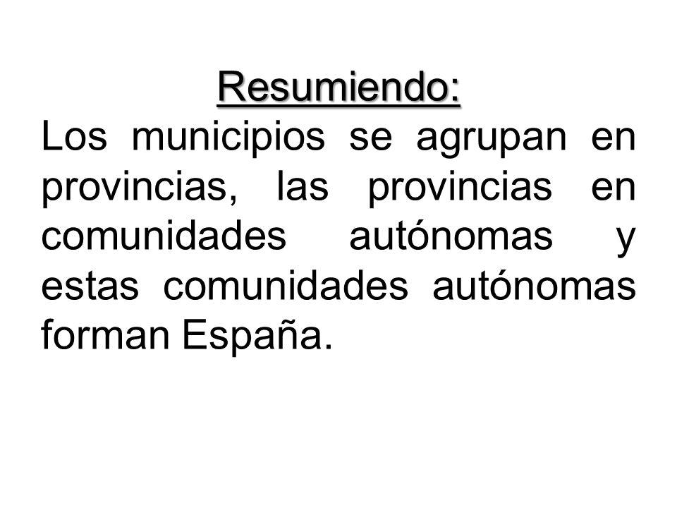 Resumiendo: Los municipios se agrupan en provincias, las provincias en comunidades autónomas y estas comunidades autónomas forman España.