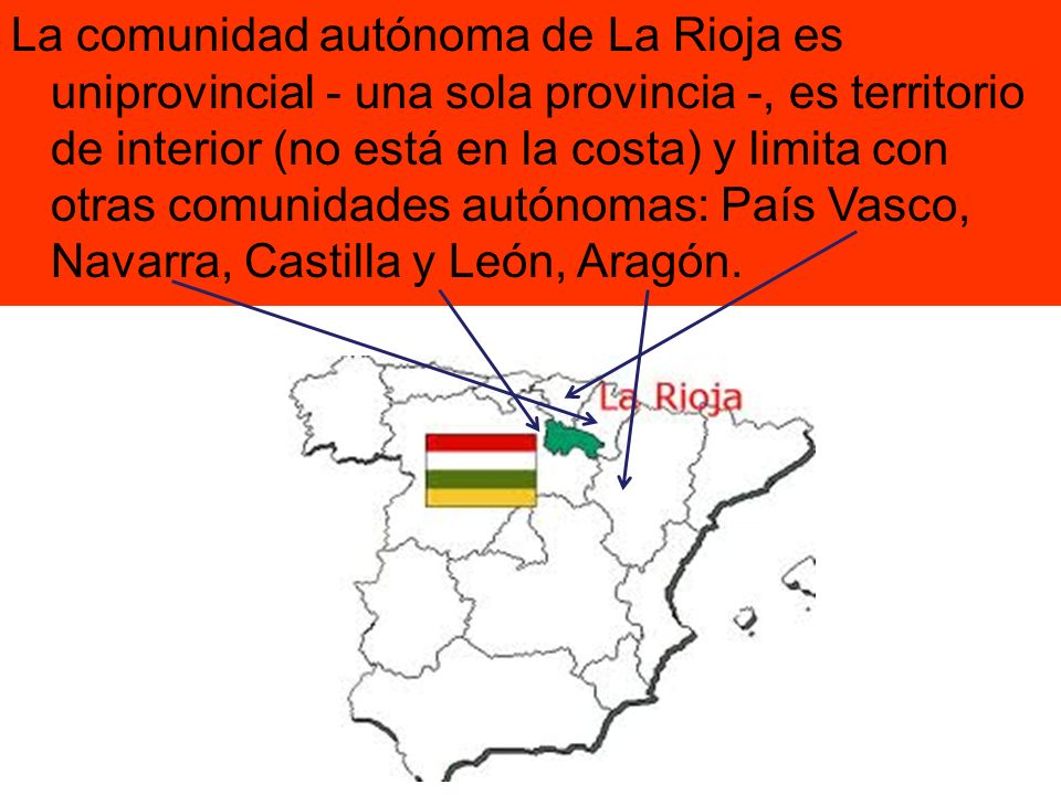 La comunidad autónoma de La Rioja es uniprovincial - una sola provincia -, es territorio de interior (no está en la costa) y limita con otras comunidades autónomas: País Vasco, Navarra, Castilla y León, Aragón.