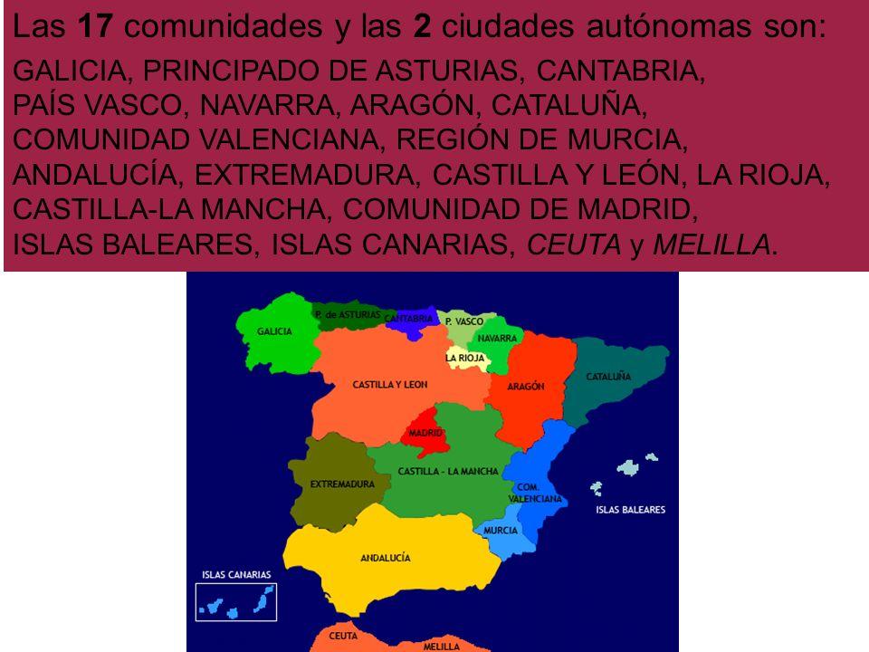 Las 17 comunidades y las 2 ciudades autónomas son:
