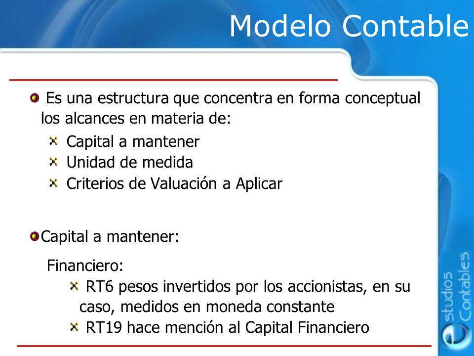 Modelo Contable Es una estructura que concentra en forma conceptual los alcances en materia de: Capital a mantener.