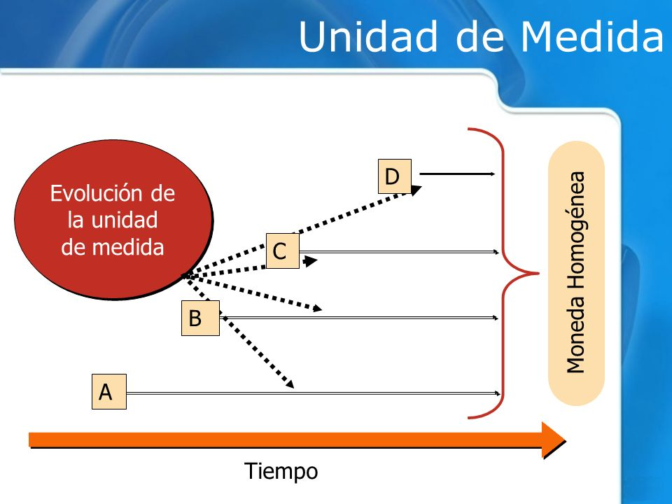 Unidad de Medida Evolución de D la unidad de medida Moneda Homogénea C