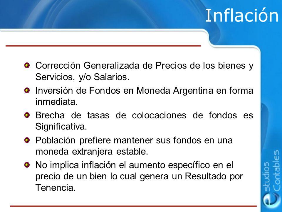 Inflación Corrección Generalizada de Precios de los bienes y Servicios, y/o Salarios. Inversión de Fondos en Moneda Argentina en forma inmediata.