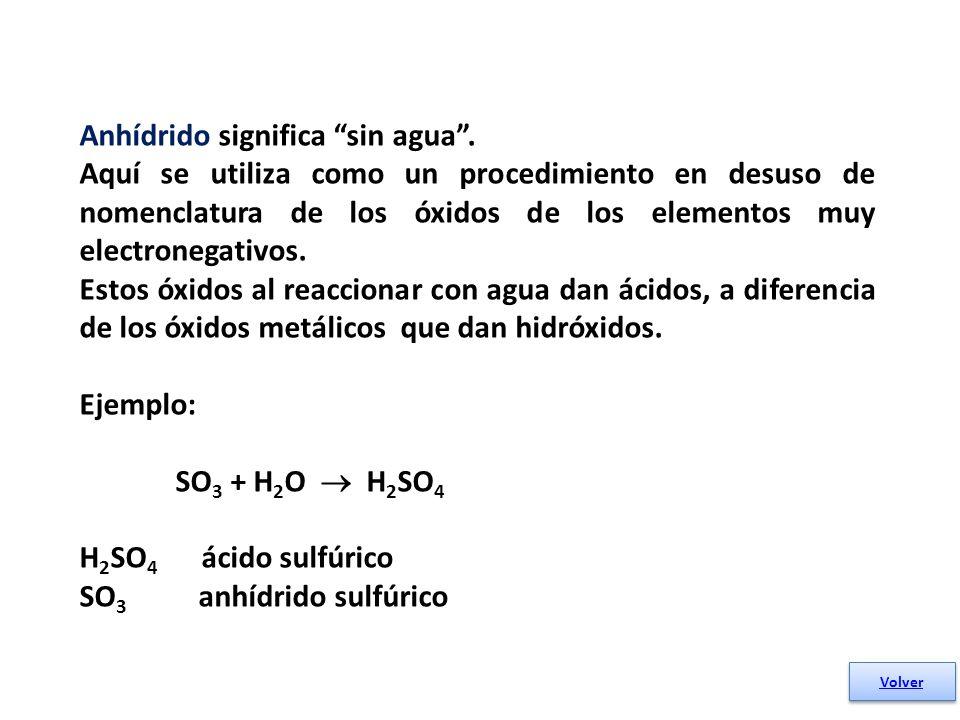 Anhídrido significa sin agua .