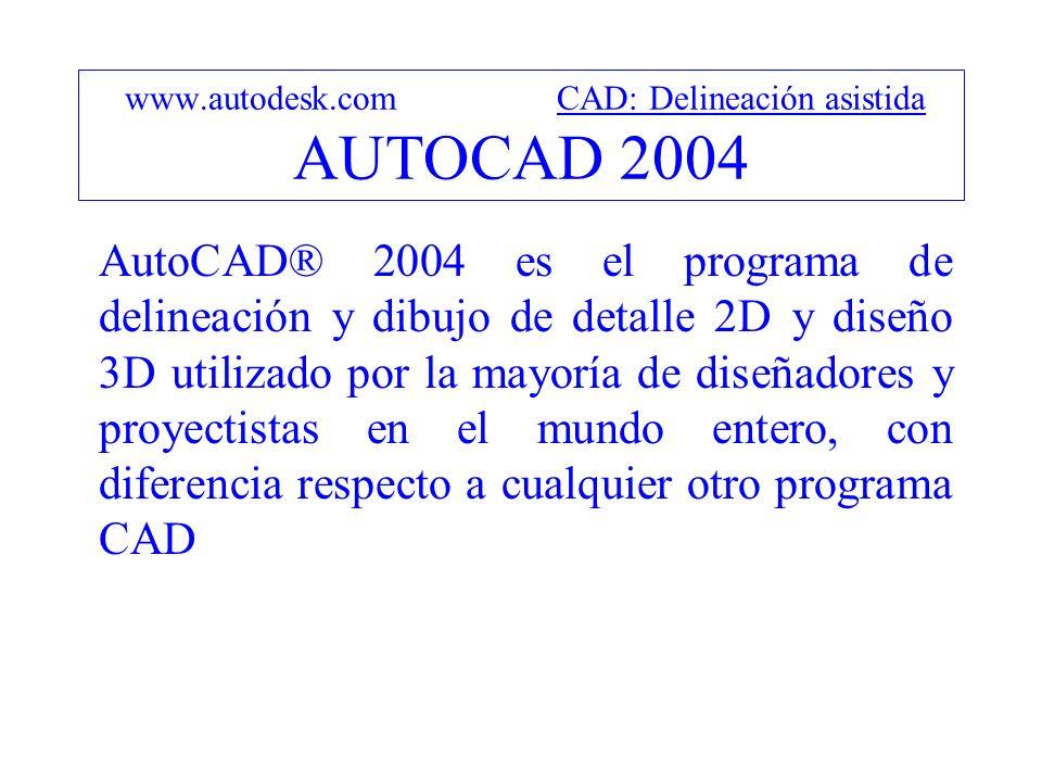 www.autodesk.com CAD: Delineación asistida AUTOCAD 2004