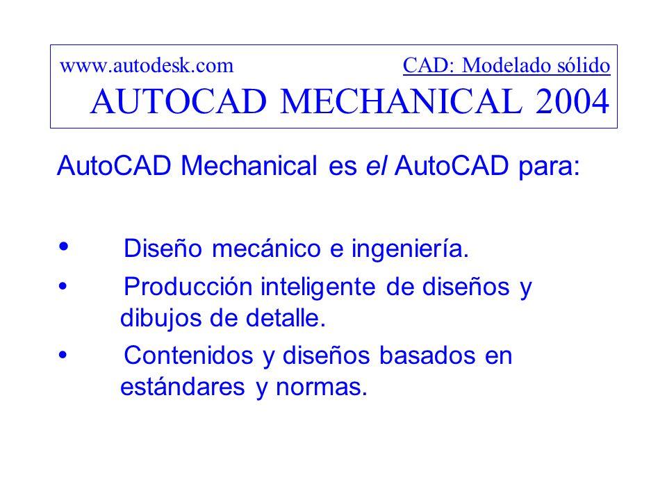 www.autodesk.com CAD: Modelado sólido AUTOCAD MECHANICAL 2004
