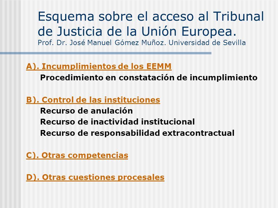 Esquema sobre el acceso al Tribunal de Justicia de la Unión Europea