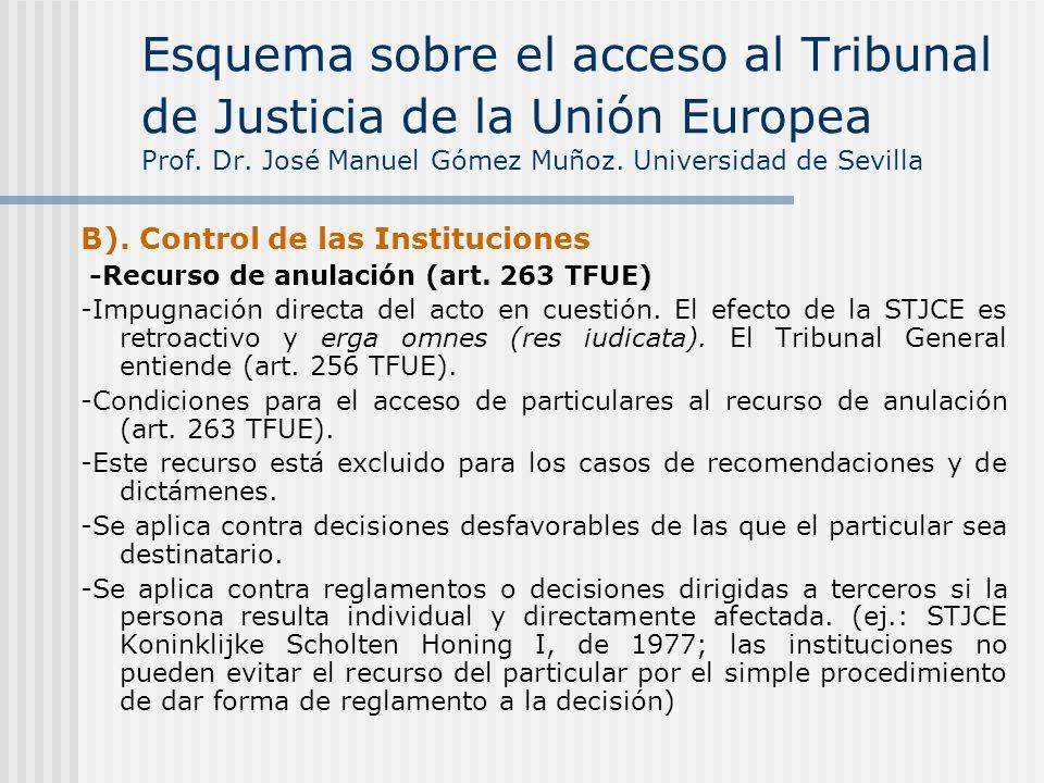 Esquema sobre el acceso al Tribunal de Justicia de la Unión Europea Prof. Dr. José Manuel Gómez Muñoz. Universidad de Sevilla