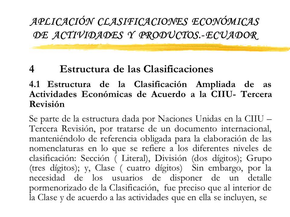 APLICACIÓN CLASIFICACIONES ECONÓMICAS DE ACTIVIDADES Y PRODUCTOS
