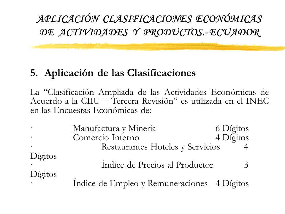 5. Aplicación de las Clasificaciones