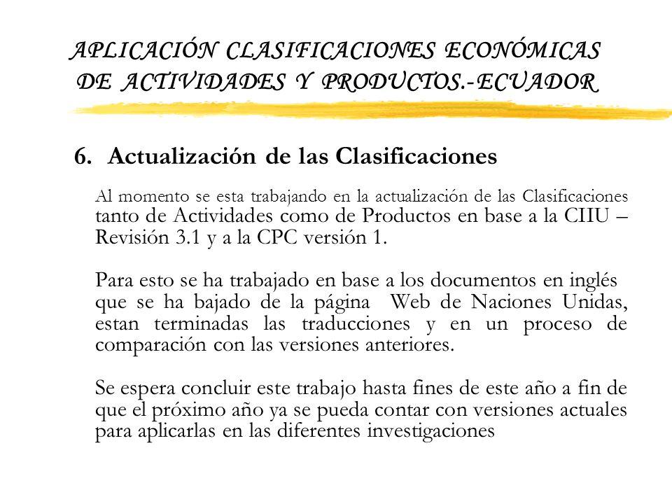 6. Actualización de las Clasificaciones