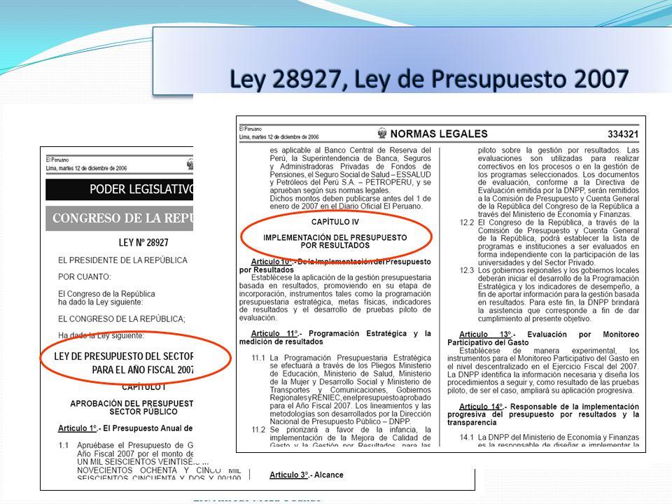 Ley 28927, Ley de Presupuesto 2007 Lic. Alfredo Meza Obando 14