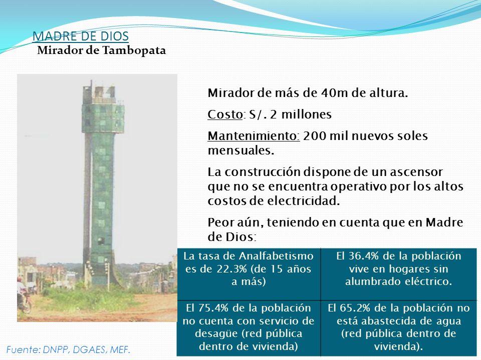 MADRE DE DIOS Mirador de Tambopata Mirador de más de 40m de altura.