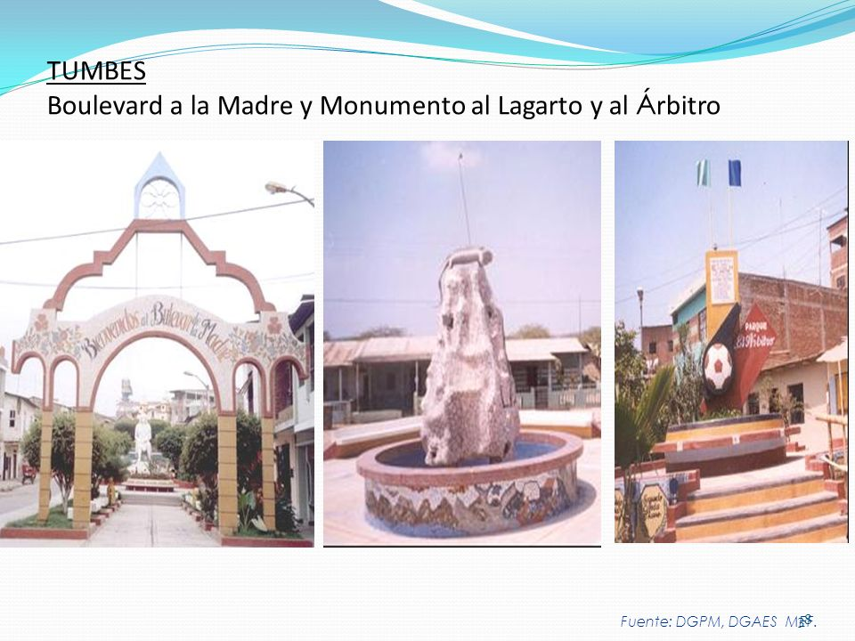 TUMBES Boulevard a la Madre y Monumento al Lagarto y al Árbitro