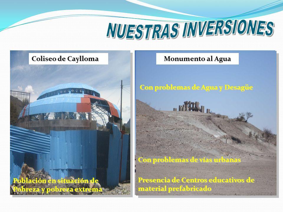 NUESTRAS INVERSIONES Coliseo de Caylloma Monumento al Agua