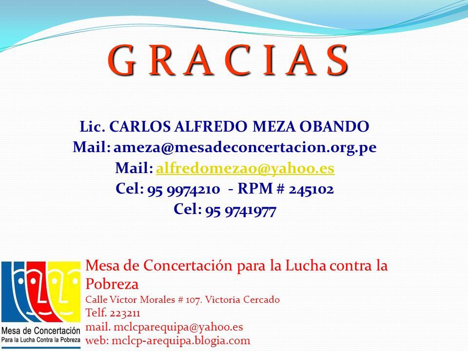 G R A C I A S Lic. CARLOS ALFREDO MEZA OBANDO