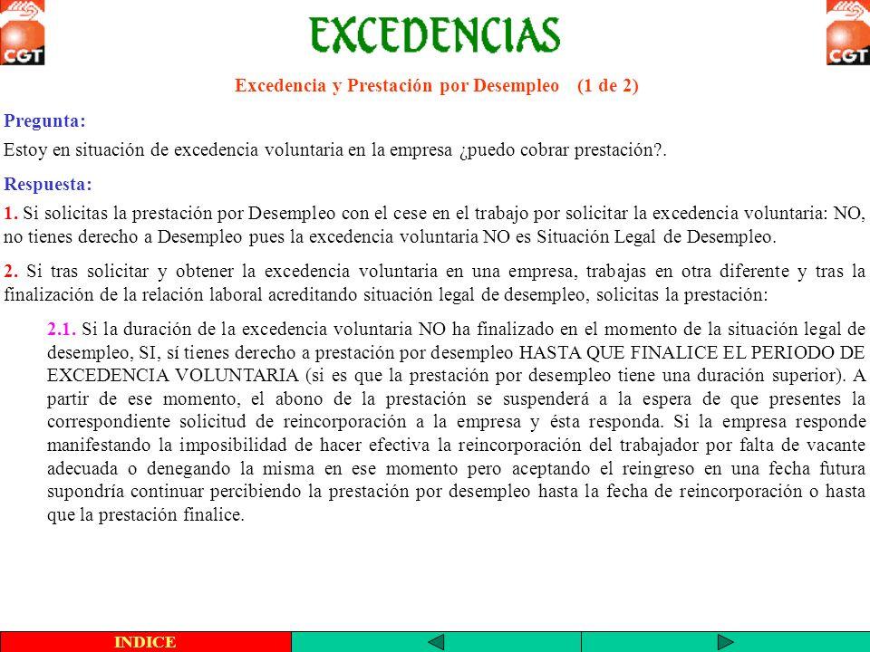 Excedencia y Prestación por Desempleo (1 de 2)