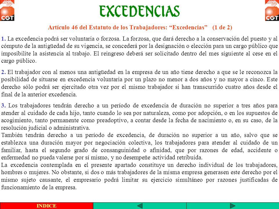 Artículo 46 del Estatuto de los Trabajadores: Excedencias (1 de 2)