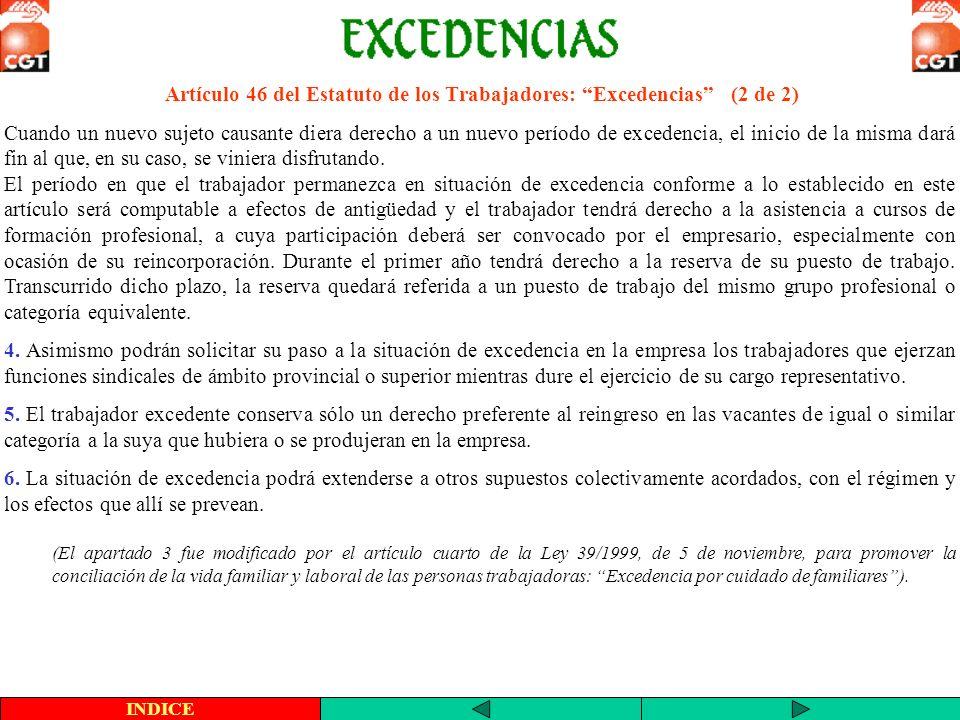 Artículo 46 del Estatuto de los Trabajadores: Excedencias (2 de 2)