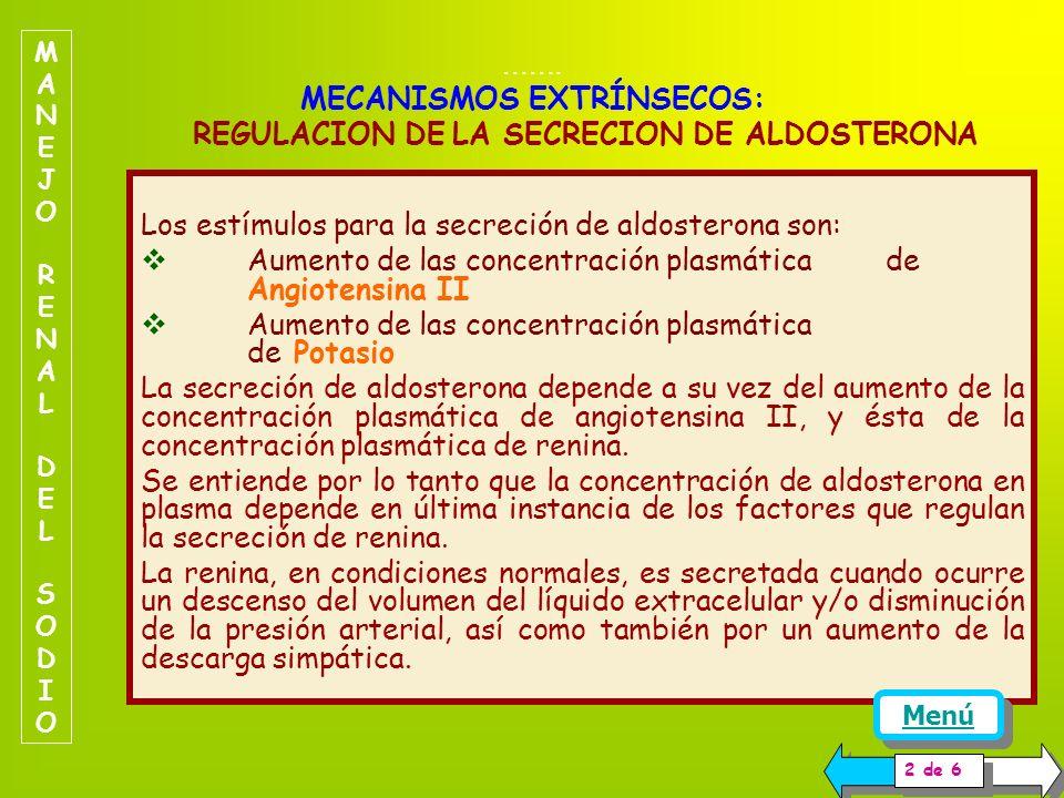 Los estímulos para la secreción de aldosterona son: