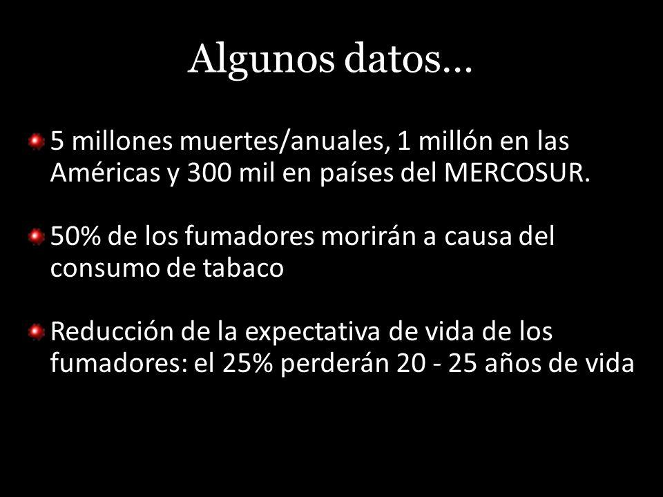 Algunos datos… 5 millones muertes/anuales, 1 millón en las Américas y 300 mil en países del MERCOSUR.