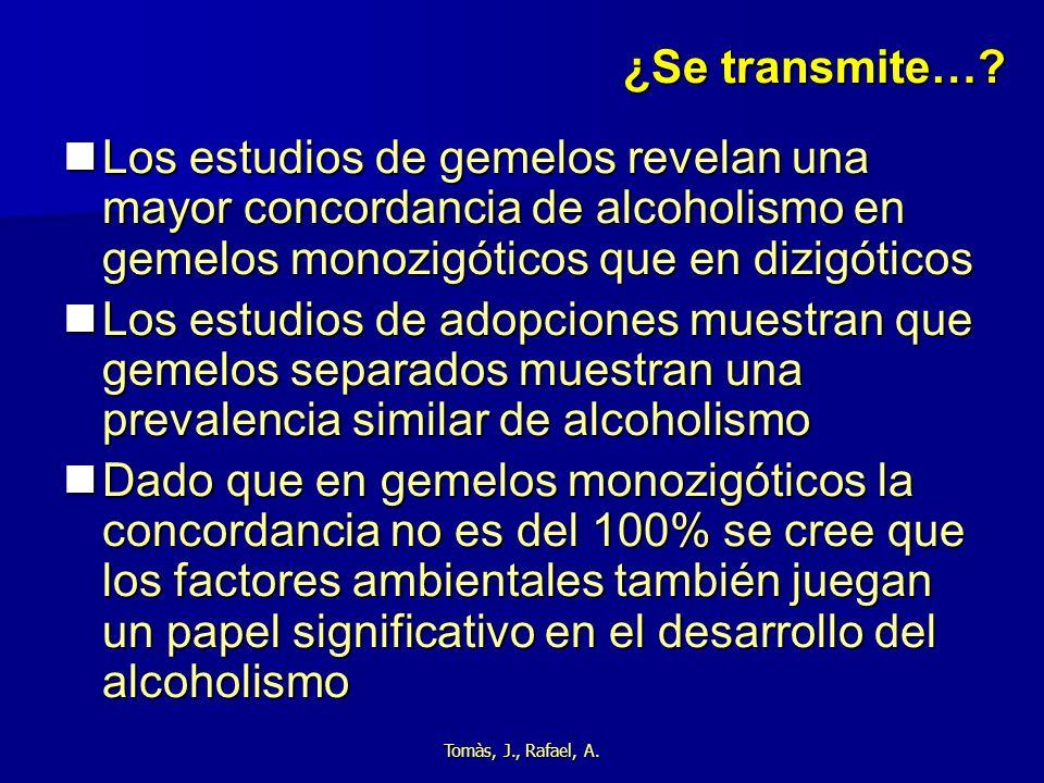 ¿Se transmite… Los estudios de gemelos revelan una mayor concordancia de alcoholismo en gemelos monozigóticos que en dizigóticos.