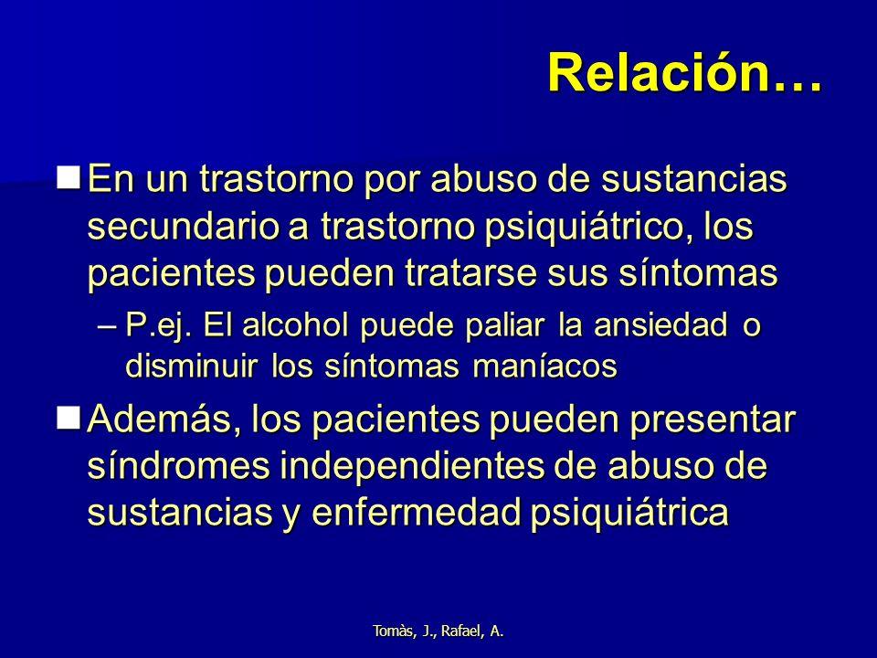 Relación… En un trastorno por abuso de sustancias secundario a trastorno psiquiátrico, los pacientes pueden tratarse sus síntomas.