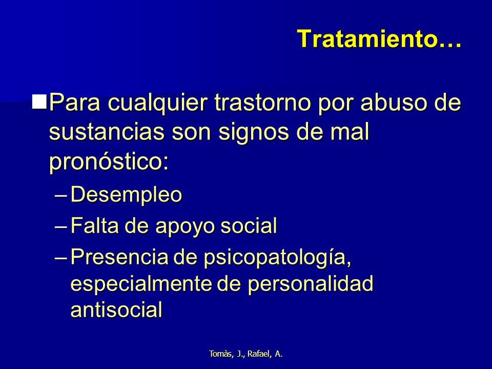 Tratamiento… Para cualquier trastorno por abuso de sustancias son signos de mal pronóstico: Desempleo.