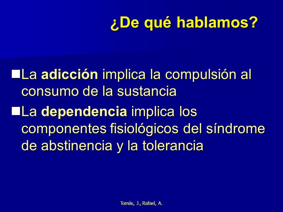 ¿De qué hablamos La adicción implica la compulsión al consumo de la sustancia.