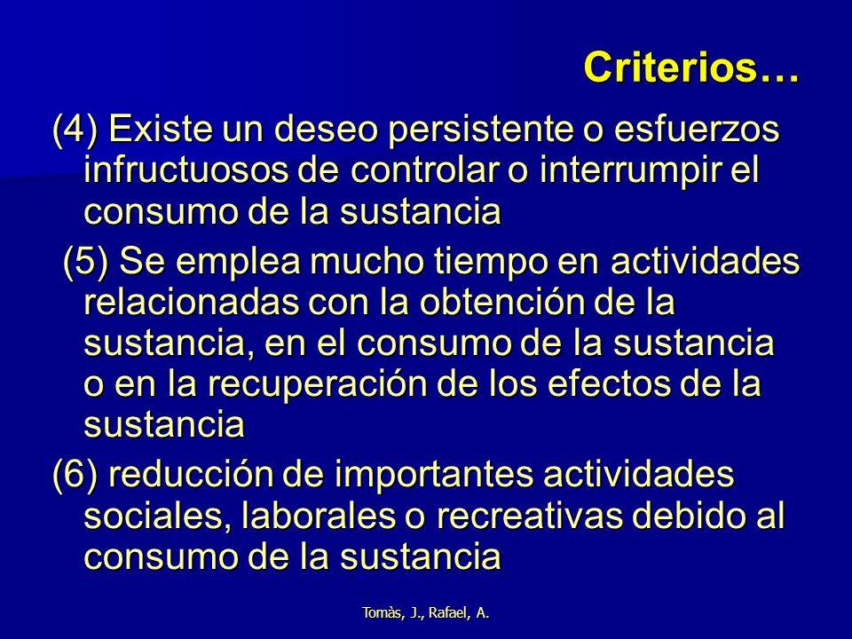 Criterios… (4) Existe un deseo persistente o esfuerzos infructuosos de controlar o interrumpir el consumo de la sustancia.
