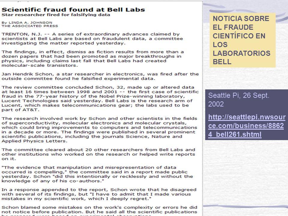 NOTICIA SOBRE EL FRAUDE CIENTÍFICO EN LOS LABORATORIOS BELL