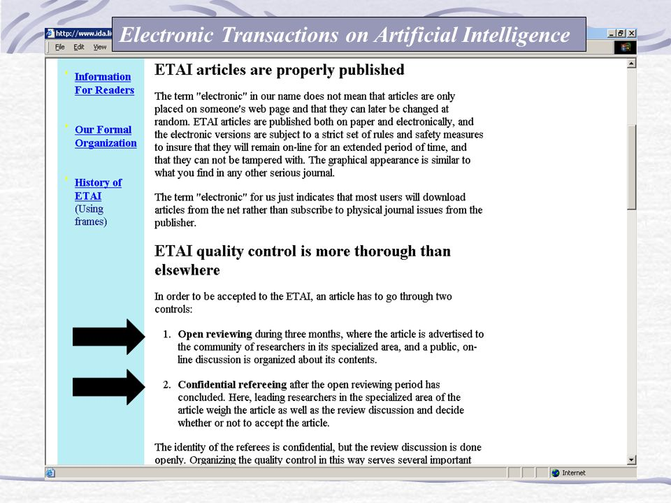 Electronic Transactions on Artificial Intelligence