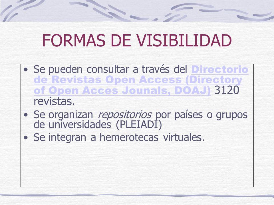 FORMAS DE VISIBILIDAD Se pueden consultar a través del Directorio de Revistas Open Access (Directory of Open Acces Jounals, DOAJ) 3120 revistas.