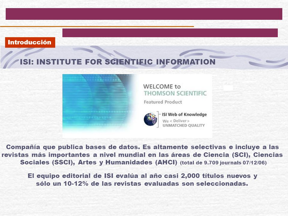 ISI: INSTITUTE FOR SCIENTIFIC INFORMATION